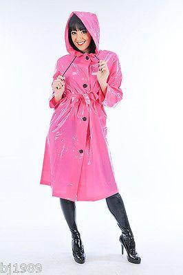 Regenmantel Raincoat Mac Retro Coat Manteau de pluie Impermeable glänzendes PVC