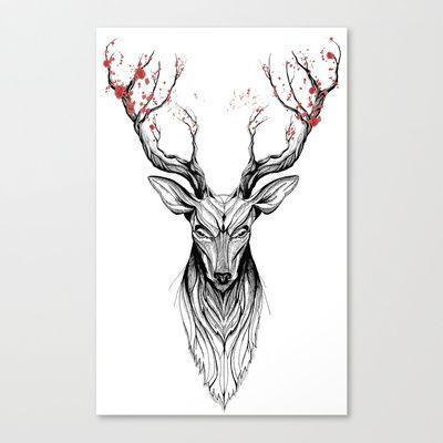 Deer tree (black stroke version for t-shirts) Canvas Print by Rafapasta - $85.00