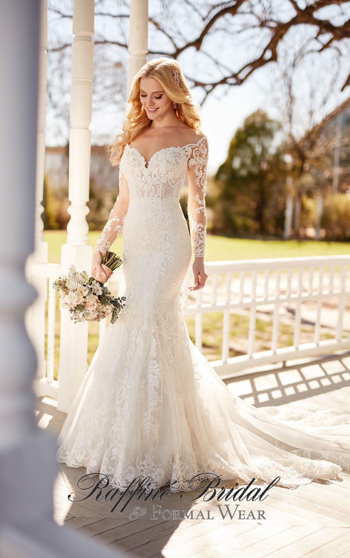 8a2f8aa8a8dc Martina Liana #870 - Long, illusion-lace sleeves add a vintage-inspired  element to this gown and perfectly offset the wide, off-the-shoulder  neckline.