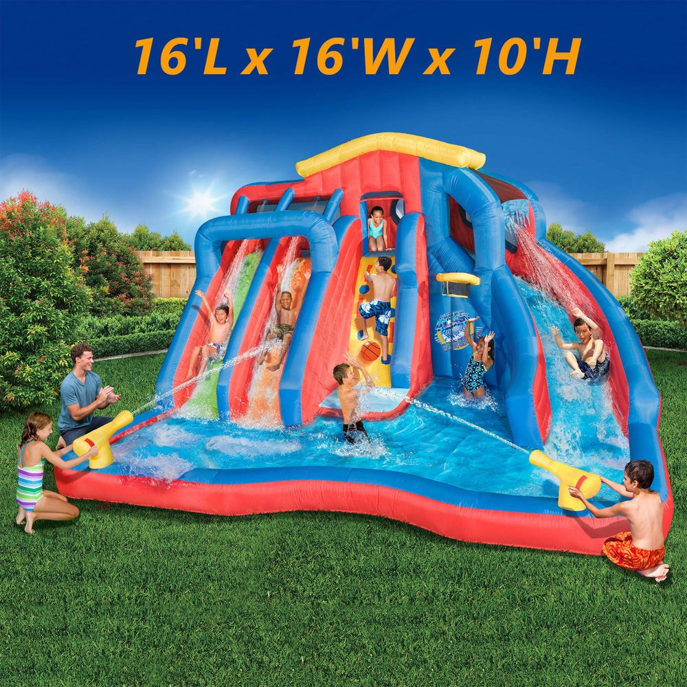 inflatable water slide bounce house pool bouncer splash fun kids