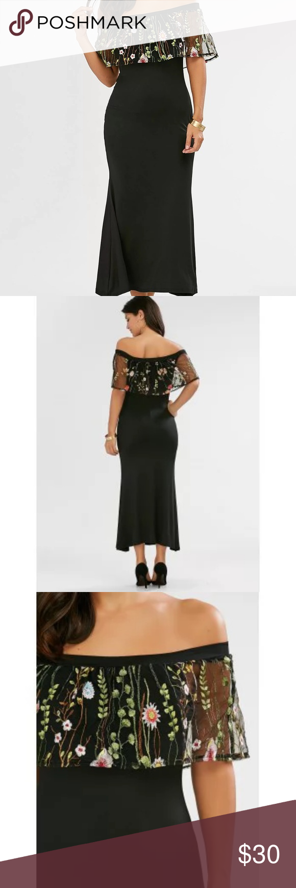 "Off shoulder embroidered maxi dress New. Ankle length. Cotton/polyester. Chest 32"" hips 36"". Dresses"