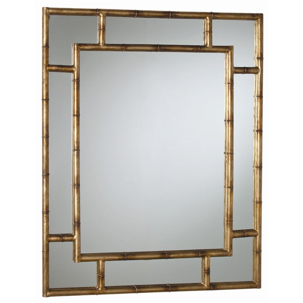 Arteriors 3138 porter mirror h 54in w 43in d 2in rectangular iron wall mirror in dark burnished gold leaf finish features textured bamboo pattern for