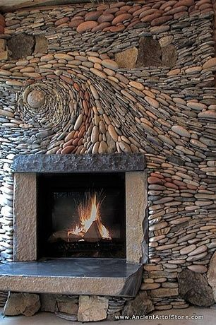Rustic Living Room With Quarry Stone Fireplace Hearth