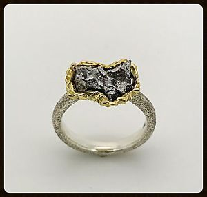 Handmade Yellow Gold & Silver Meteorite Ring  | eBay