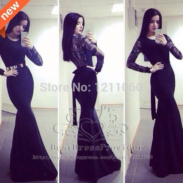 Popular Black Lace Mermaid Prom Dress-Buy Cheap Black Lace Mermaid ...