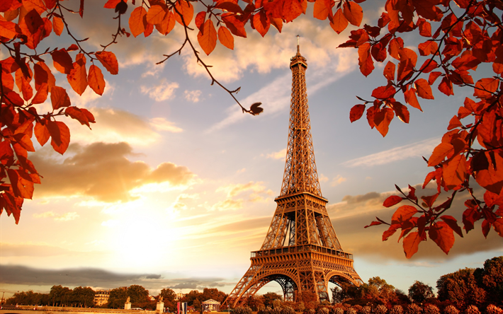 Download Wallpapers Eiffel Tower Paris Autumn Seine Paris