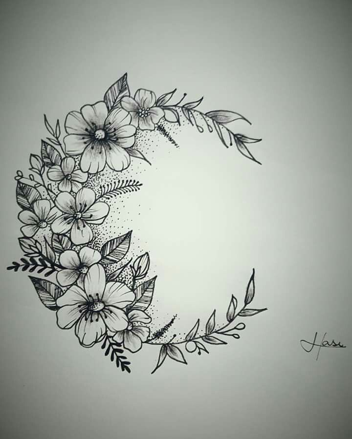 Flower Circle Line Drawing : Moon flowers tattoo pixshark images galleries with a bite