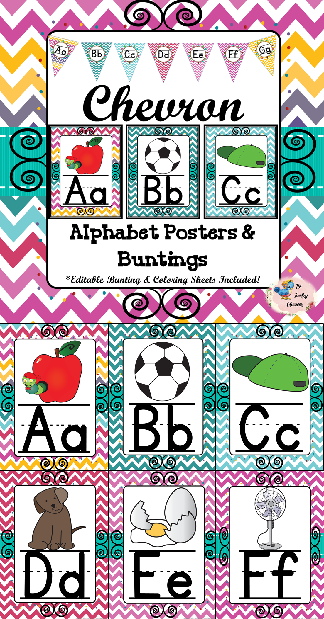 Chevron Alphabet Posters and Bunting   The Traveling Classroom Store ...