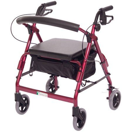 Featherlight Demi Four Wheel Walker with Loop Hand Brakes, Teal, Red