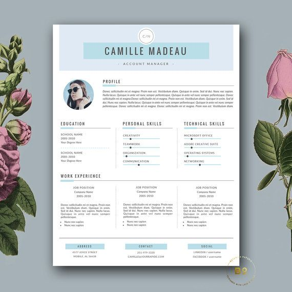 Resume Template 3 page and FREE Cover Letter Modern CV Template for