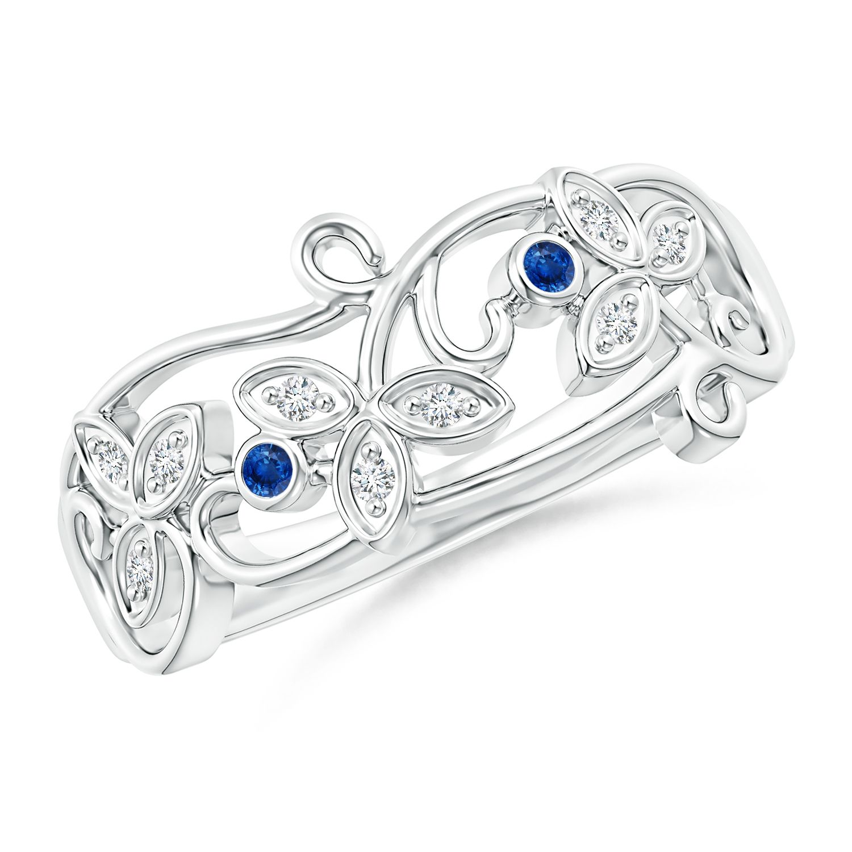 Angara Vintage Style Blue Diamond Flower Scroll Ring zoaEgqM