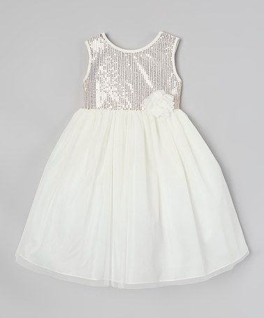 e81823c6275b Another great find on #zulily! White & Gold Sparkle A-Line Dress ...
