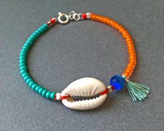 Concha cáscara - turquesa y naranja - turquesa borla - cáscara del cowrie Natural - verano de plata - hechas a mano - pulsera - boho