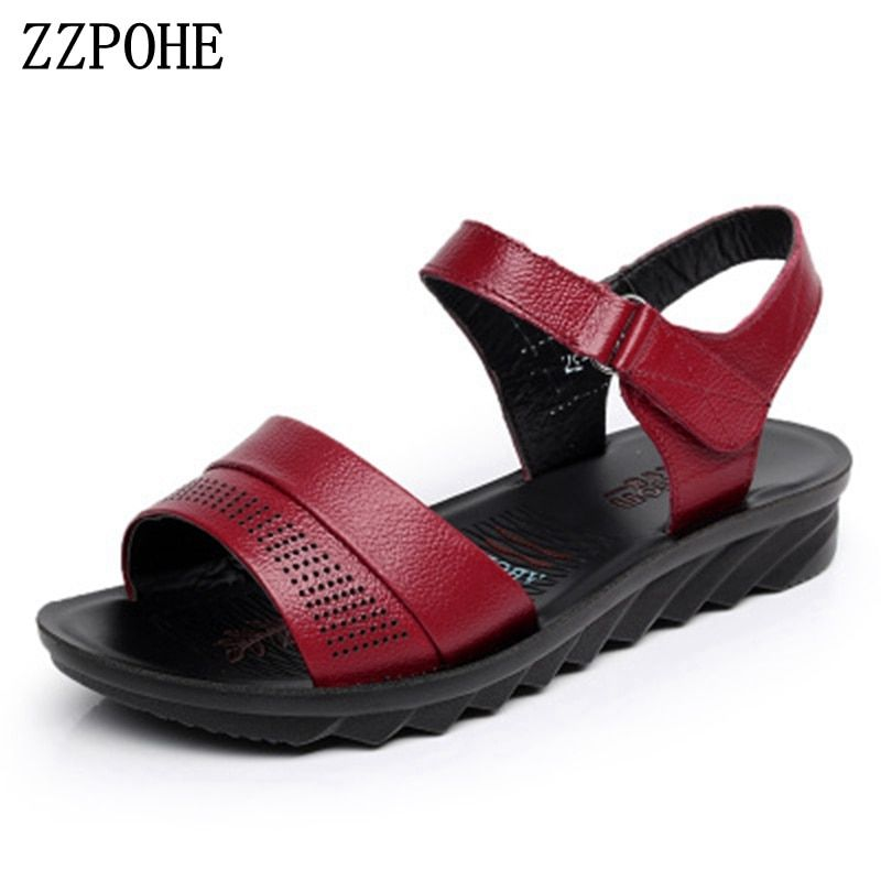 53fe1d694 ZZPOHE Summer Beach Shoes Ladies Fashion Leather Flat Sandals Women Casual  Comfortable Black Sandals elderly Soft