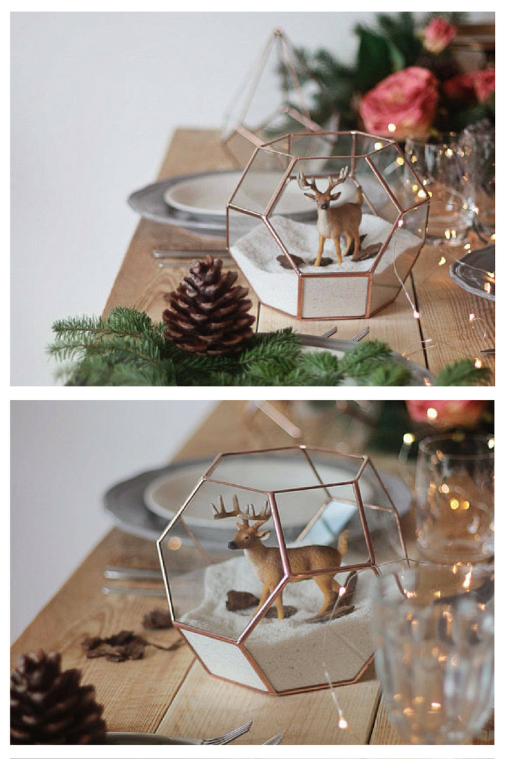 Geometric terrarium decor, table centerpiece #terrarium #geometric #homedecor #christmas #commissionlink
