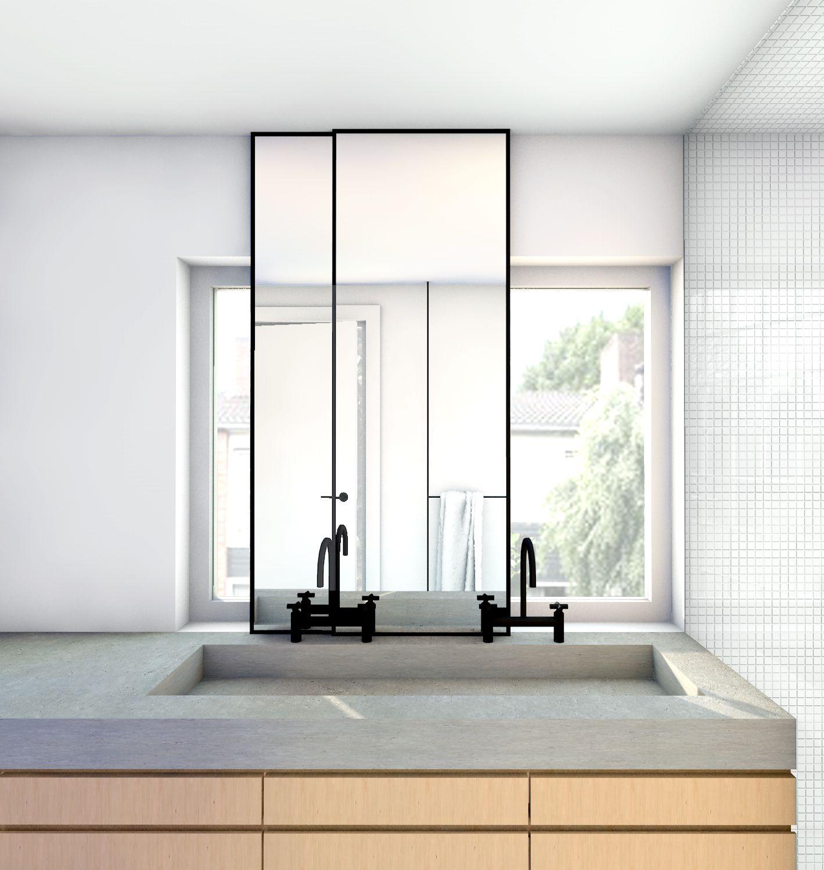 eiken wastafelmeubel met betonblad en verschuifbare spiegels