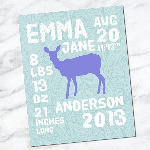Printable Download Birth Announcement Wall Art 8x10 - Baby Stats - Name Date Weight Length Time - Birth Info - Newborn CM3105 deer
