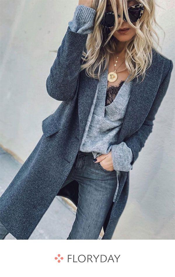 Long Sleeve Lapel Pockets Coats