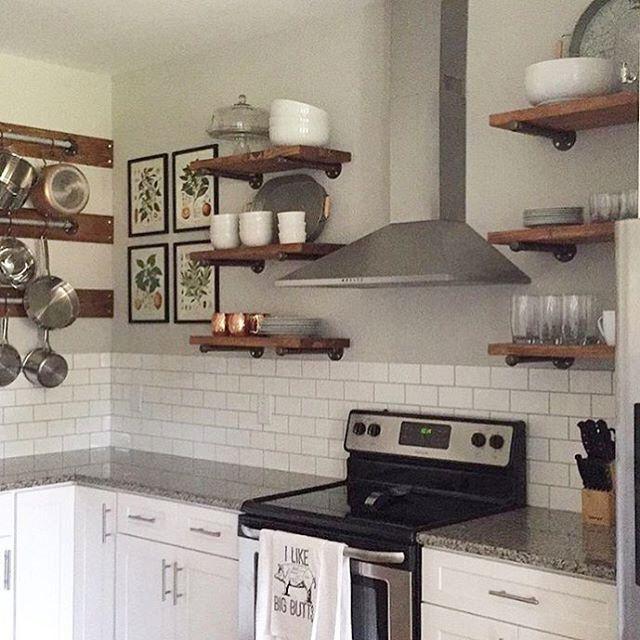 set of 3 industrial floating shelves open kitchen shelves 12 depth w pipe support brackets. Black Bedroom Furniture Sets. Home Design Ideas