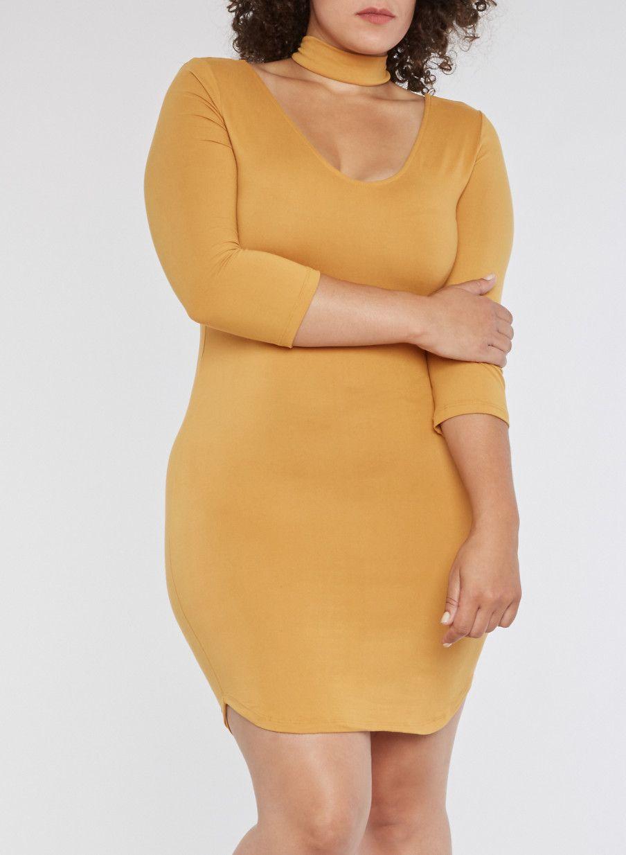 Plus Size Choker Neck Bodycon Dress Inca Gold Large Bodycon Dress Neck Bodycon Dress Mini Dress [ 1234 x 904 Pixel ]