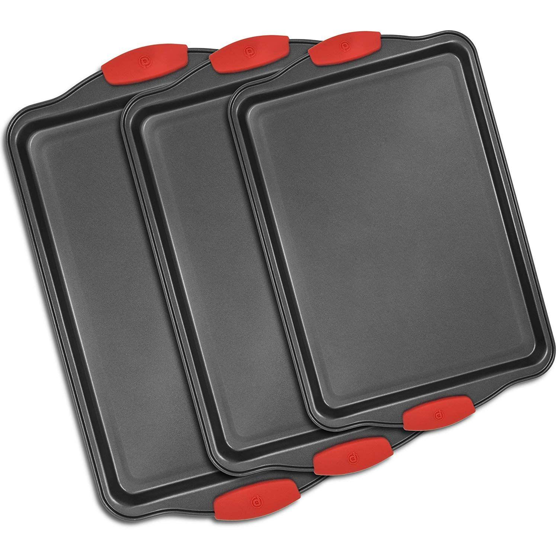 3 Piece Nonstick Bakeware Set Premium Nonstick Cookie Sheet Pan