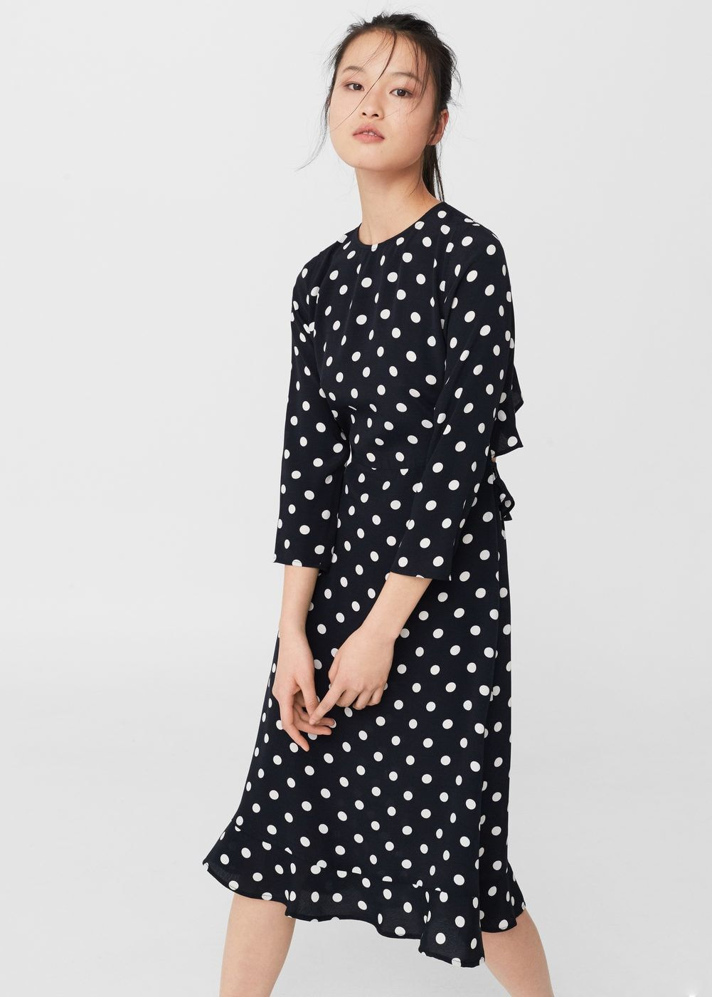 Polka-dot dress - Women | Pinterest | Mango, lange Ärmel und Saum