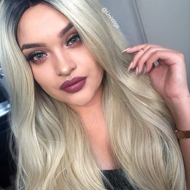 Angelia | Blonde with Dark Roots Long Wavy Synthetic Lace Front Wig