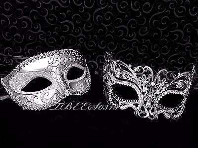 fd4281da41a7 New Men Women Couple Silver Carnival Metal and Glitter Venetian Masquerade  Mask