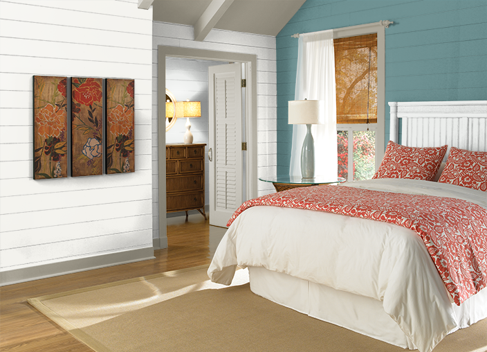 Give Your Bedroom A Makeover With Behr Paint In Artful Aqua To Create A Serene Environment Pair This Calming Color With Exposed Wood And Industria