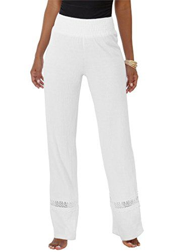 Fashion Bug Women's Plus Size Crochet Gauze Pants www.fashionbug.us #PlusSize #FashionBug #Pants