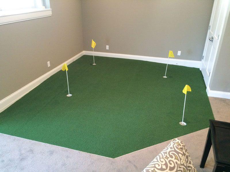 Indoor Green 17 Golf Room Indoor Putting Green Basement Remodeling
