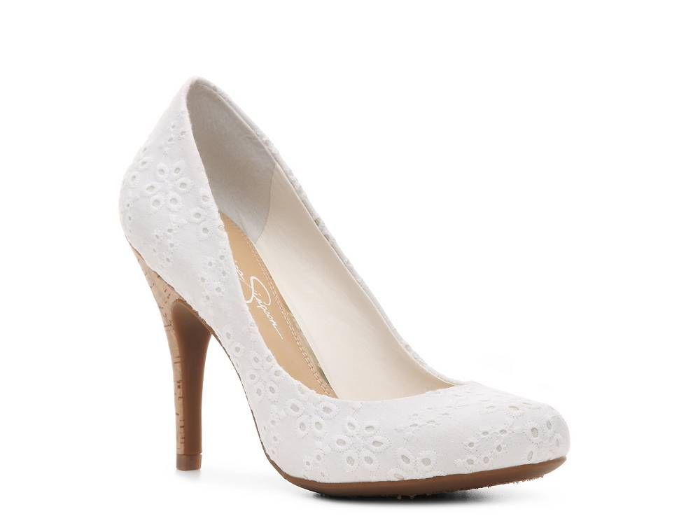 Jessica Simpson Oscar Embroidered Pump - I don't usually like white pumps,  but I'll make an exception for these.