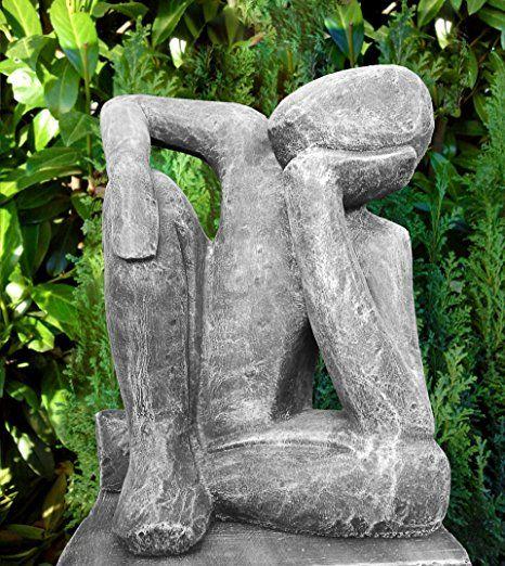 Uberlegen Steinfigur Träumer In Schiefergrau, Abstrakte Deko Figur Für Haus Und Garten,  Moderne Statue
