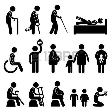 Pictogram Man Old Man Patient Blind Disable Handicap Pregnant Woman Children Baby Poor Begger People In Need Priority Icon Pictogram Stick Figures People Icon