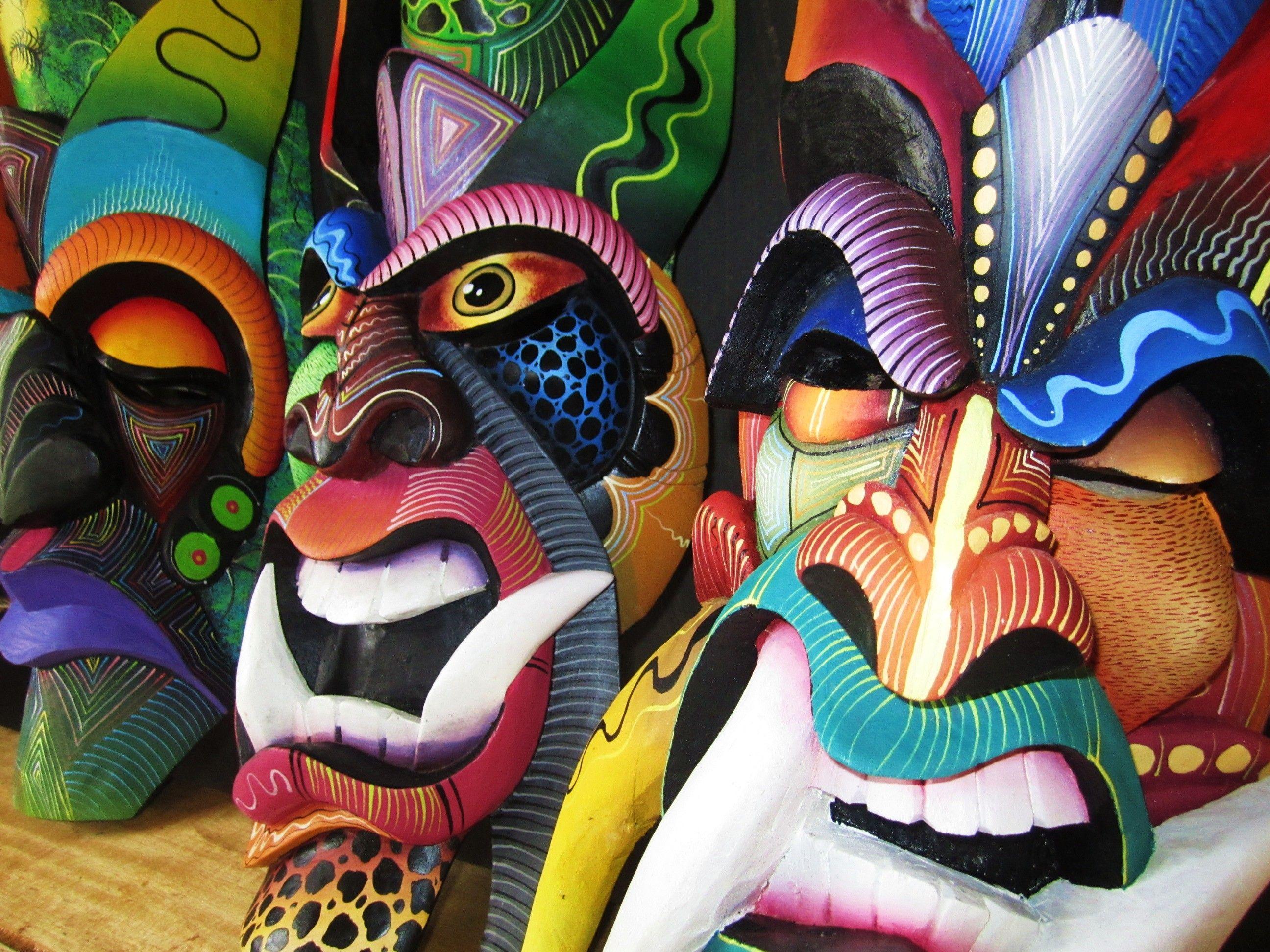 Costa Rican Indigenous Art Wooden Mask Boruca Mask Diablitos Game Mask Ceremonial Mask