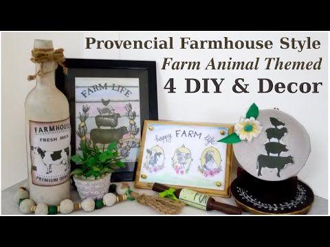4 Farm Animals Themed Provencial Farmhouse Decor DIYs for FREE #WithMe - YouTube #diydecor #farmhousedecor #easydecor #decorateforfree #homedecor