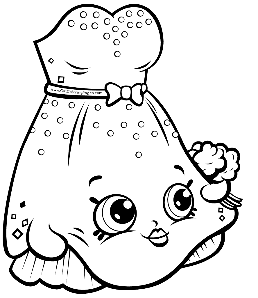 Wedding dress shopkins 7 coloring page