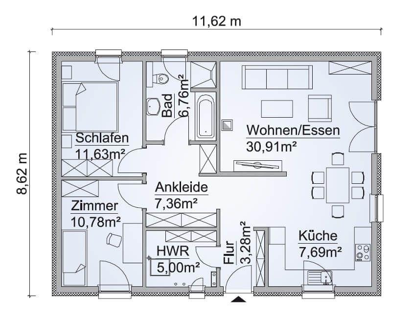 Bungalow Haus Grundriss Erdgeschoss Küche offen, 3 Zimmer, Walmdach - kuche wohnzimmer offen modern