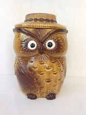 Vintage Norcrest (?) Owl Biscuit Barrel Cookie Jar 24 cm High