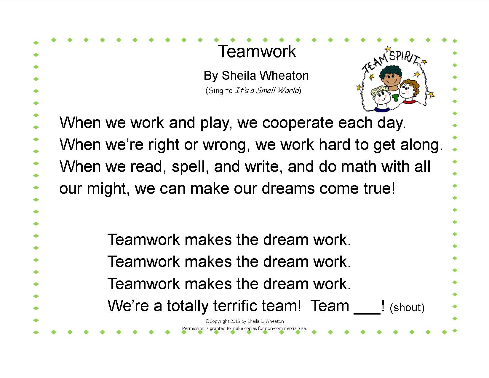Teamwork Song Sing To It S A Small World