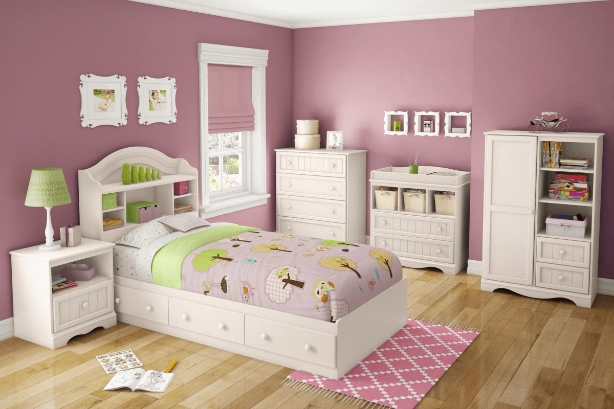 Pink wall and white bedroom furniture sets | Girls bedroom ...