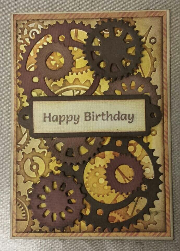 Using Spellbinder Gear Dies Steampunk Cards Masculine Birthday Cards Cards Handmade