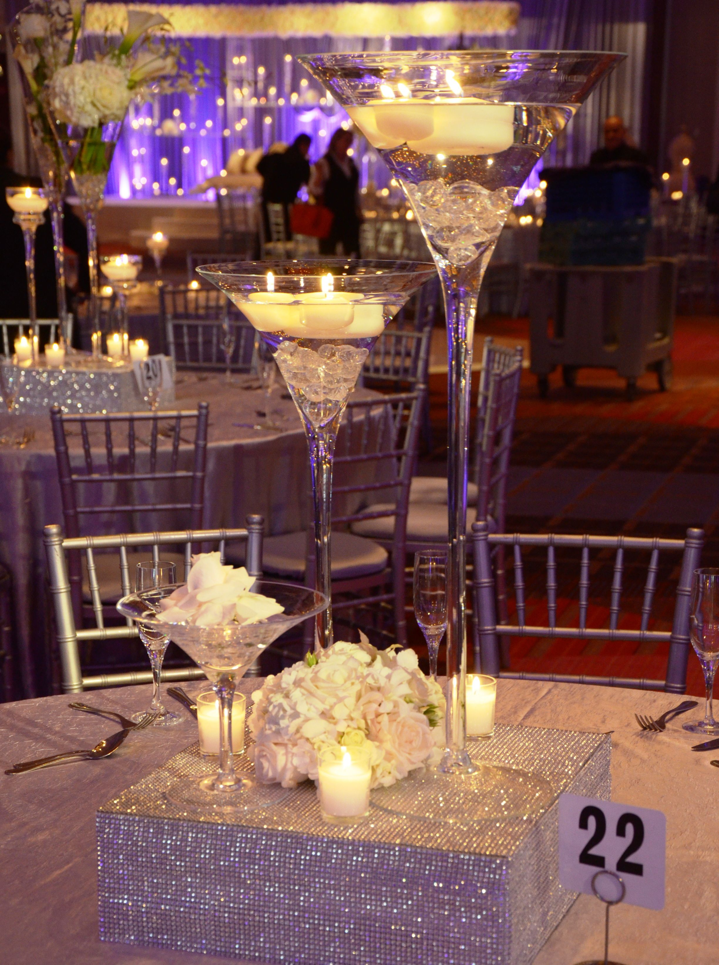 Re Create This Beautiful Design Using Out Martini Cases Filled With Crystals And Floating Candles Bling Wedding CenterpiecesWedding