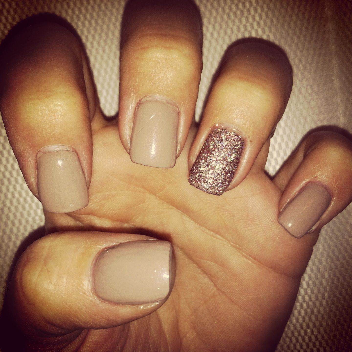 I'm in love with tan nail polish!! But the glitter. - I'm In Love With Tan Nail Polish!! But The Glitter....is A Pain To