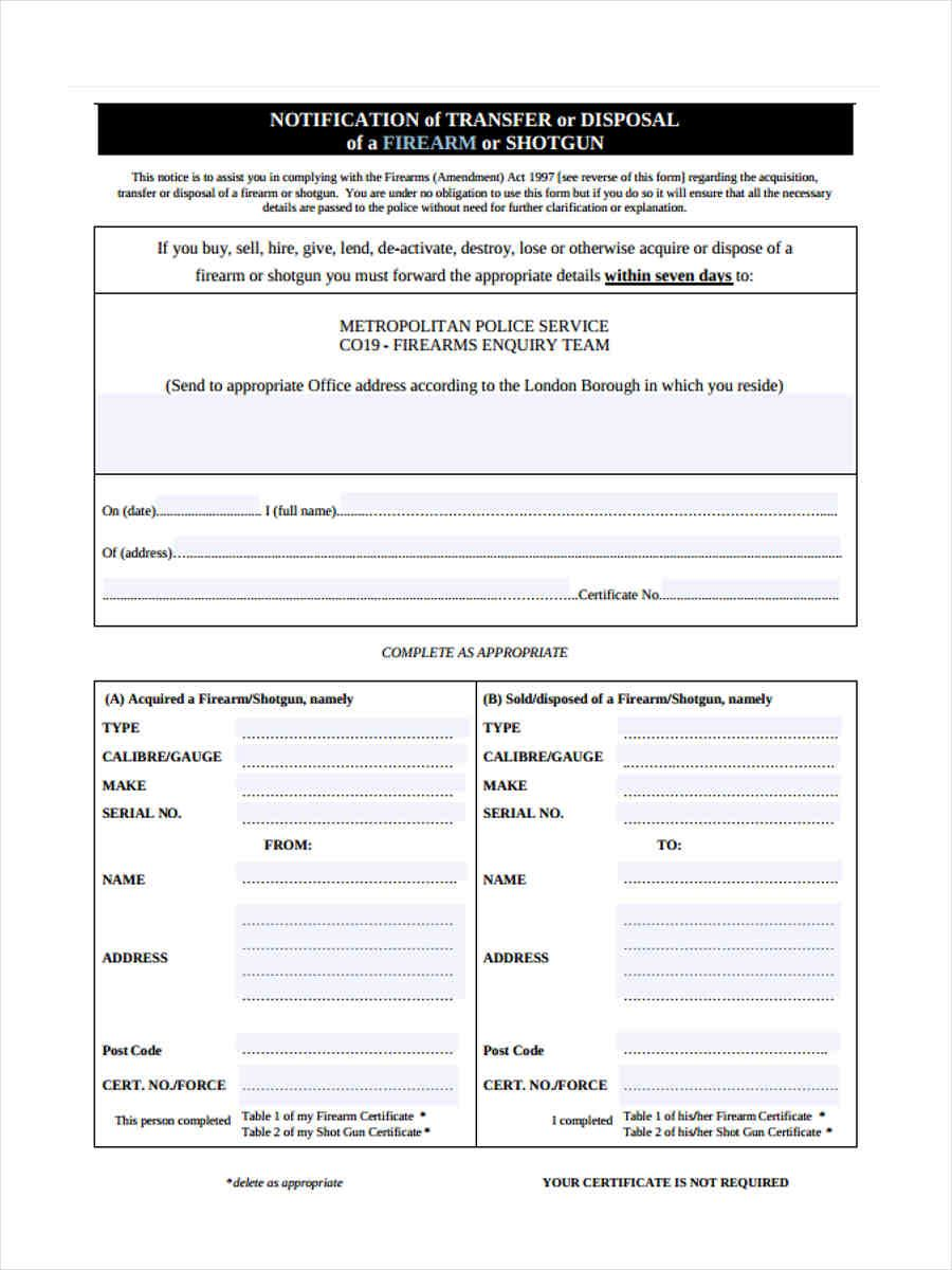 Free 5+ Notice Of Disposal Forms In Ms Word Pdf