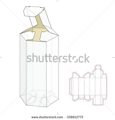 Hexagonal Tube Empty Tube Box with Die Cut Template | Packaging ...