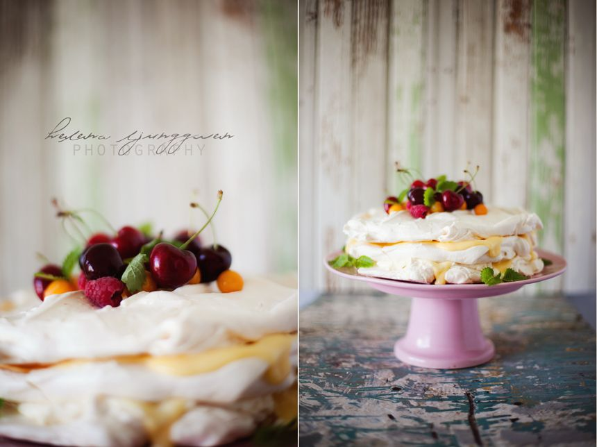 Midsummer Meringue Cake with Lemon Curd Recipe by Helena Ljunggren