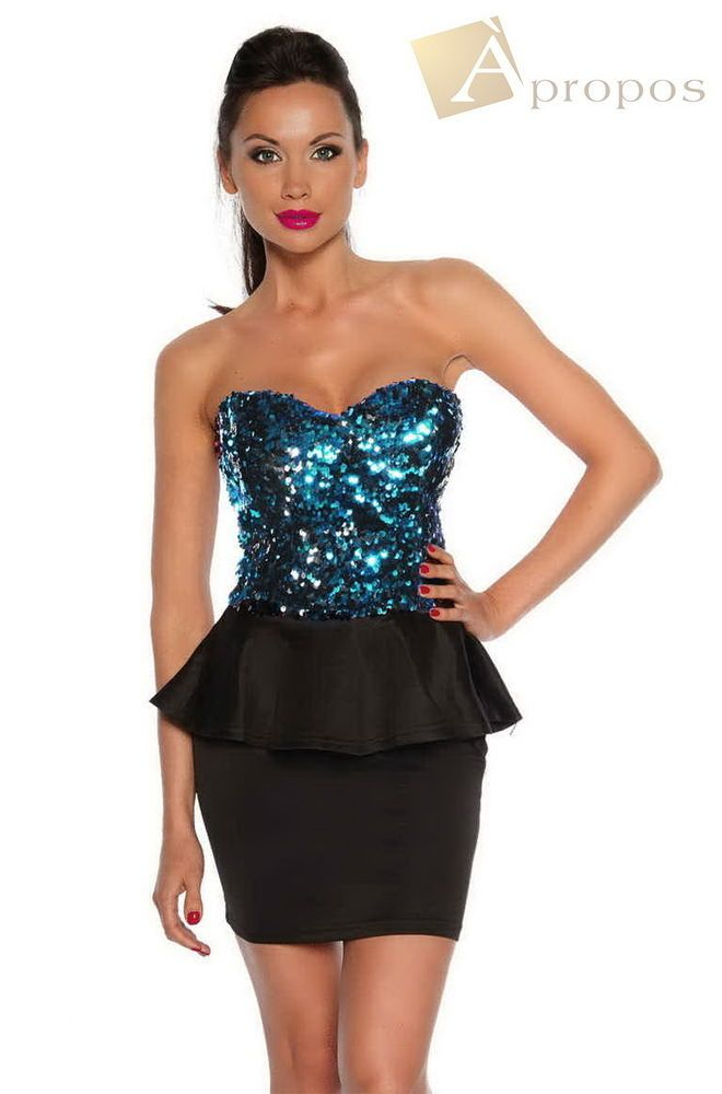 Coctailkleid Abendkleid Pailletten Minikleid Partykleid Clubkleid ...