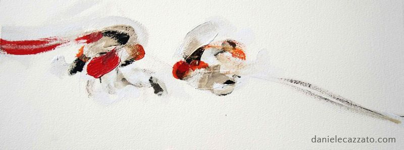 Robin - cm 27x50, oil painting and bitumen on paper