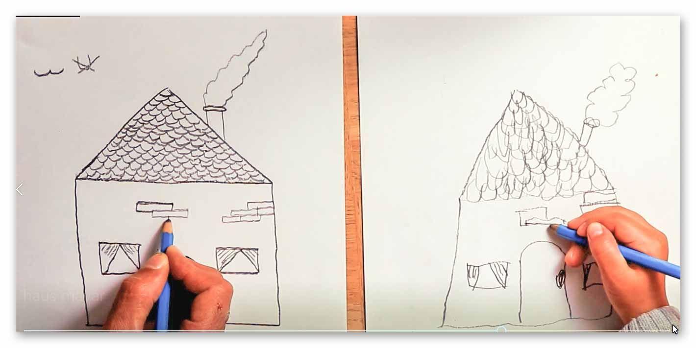 Drawing House For Kids Girl Draws House رسم بيت للاطفال طفلة ترسم بيت Drawing For Kids Teaching Drawing Girl Drawing